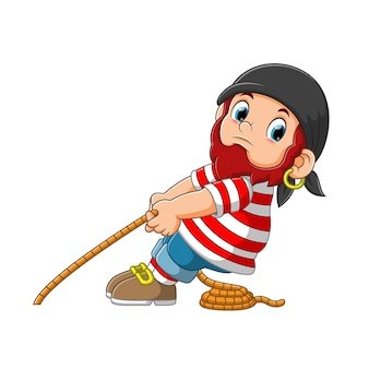 Pirate pulling a rope cartoon character illustration