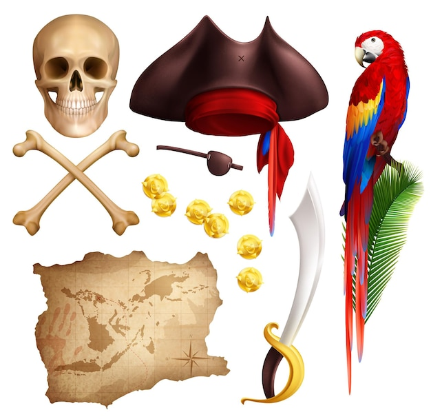 Pirate realistic icons set of aged map gold coins smoking pipe saber parrot skull and pirate hat isolated