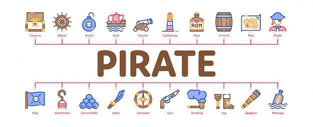 Pirate sea bandit tool minimal infographic banner vector
