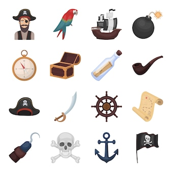 Pirate, sea robber cartoon elements in set collection for design.