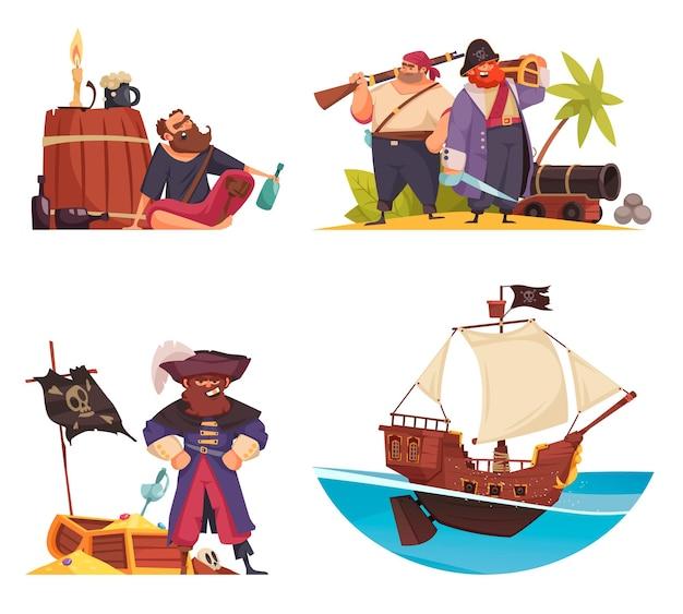 Set pirata di composizioni di cartoni animati con personaggi di pirati scarabocchiati nave armatura e bandiere con illustrazione di scrigno del tesoro