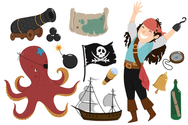 Pirate set in cartoon style