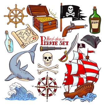 Пиратский набор. коллекция рисованной пиратской атрибутики. пиратский флаг, корабль, навигационная атрибутика