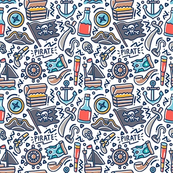 Pirate set element doodle colorful seamless pattern