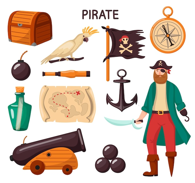 Pirate set of elements. cartoon style.