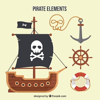 평면 디자인의 해적선 및 요소 무료 벡터