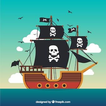 Pirate ship background in flat design
