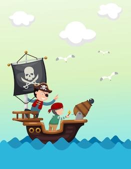 Pirate ship beautiful landscape