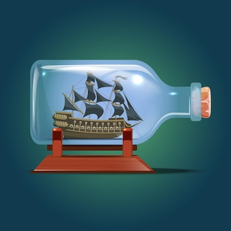 Pirate ship in a bottle.sailing crafts. miniature models of marine vessels. hobby and sea theme.vector illustration