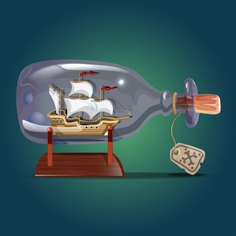 Pirate ship in a bottle.sailing crafts. miniature models of marine vessels. hobby and sea theme.vector illustration.
