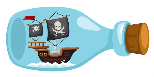 Pirate ship in bottle