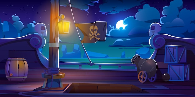 Pirate ship deck onboard night view, wooden boat with cannon, glow lantern, wood barrels, hold entrance, mast with ropes and jolly roger flag, cartoon.