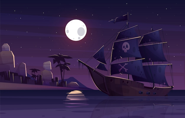 Pirate ship or galleon with human skull and crossed bones on black sails