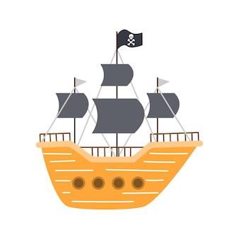 フラット漫画スタイルの海賊船、白い背景の上のベクトル図