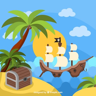 Pirate ship next to an island with treasure