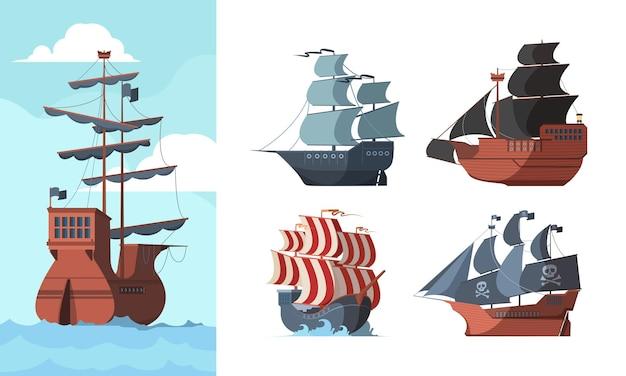 해적선. 해양 오래된 운송 바다는 나무 보트 갤리온 선 벡터 그림을 손상시켰습니다. 컬렉션 항해 배, 갤리온 선 및 해양 보트 그림