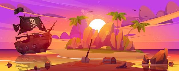 Пиратский корабль пришвартовался на секретном острове с сундуком с сокровищами