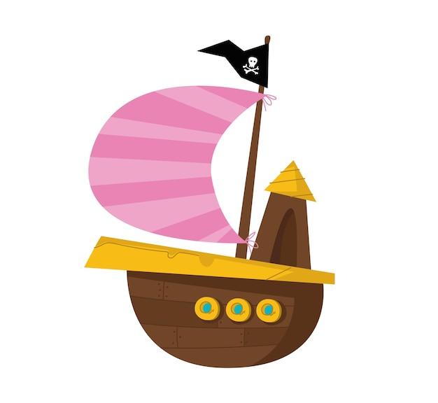 검은 깃발과 분홍색 줄무늬 항해 벡터 일러스트 레이 션 흰색 배경에 해적선