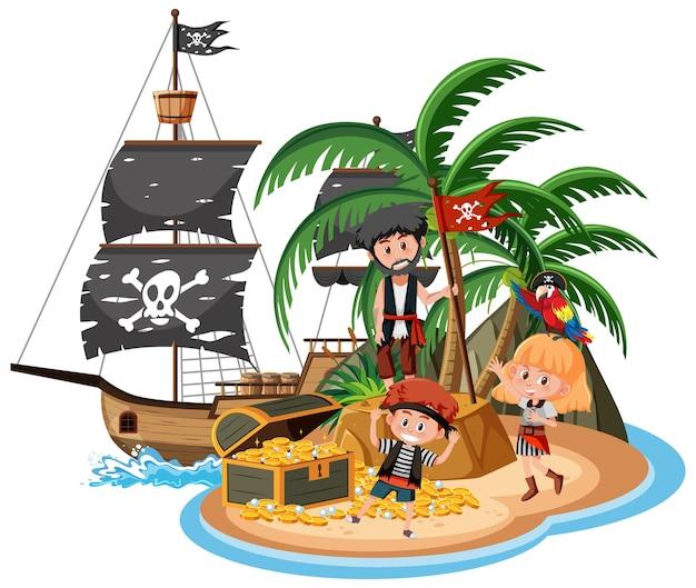 흰색 배경에 고립 된 많은 아이 들과 함께 섬에 해적선