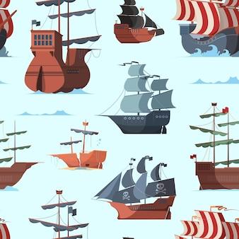 Pirate ship pattern. old shipping boat adventure concept seamless vector background. sea boat travel wallpaper, marine vintage pirate brigantine design illustration
