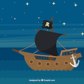 Pirate ship sailing at night background