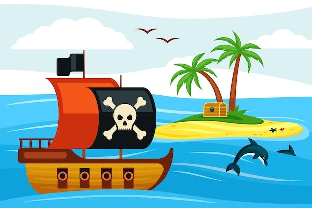 宝島のイラストに向かって航海する海賊船
