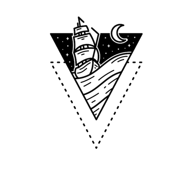 Pirate ship in the seas tattoo monoline badge design