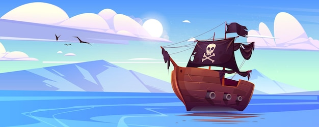Pirate ship with black sails and flag with skull