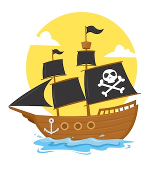 Pirate ship with black skull cross flag