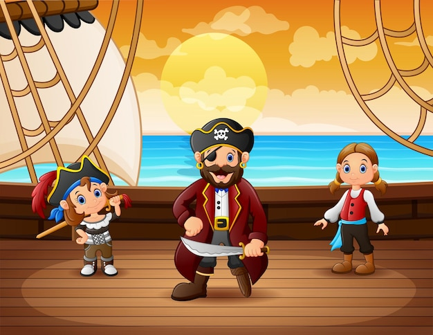 Pirate ship with captain in the sea