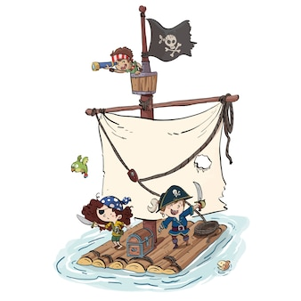 Pirate ship with children