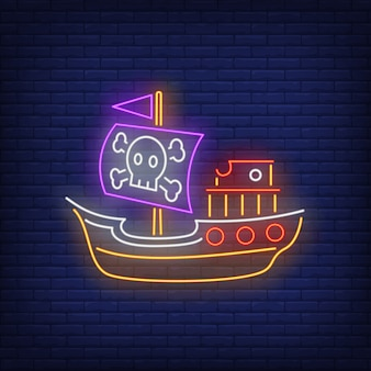 Pirate ship with jolly roger neon sign