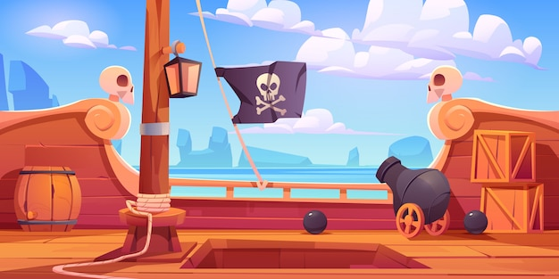 Pirate ship wooden deck onboard view with cannon