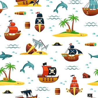 Pirate ships and treasures seamless pattern