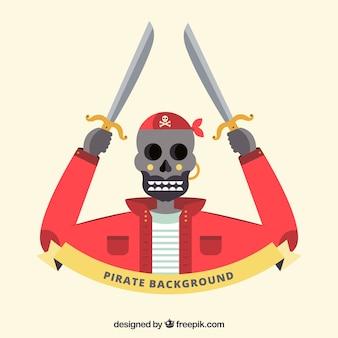 Pirate skull background in flat design