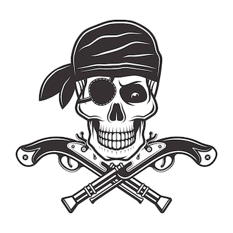 Pirate skull in bandana with patch on eye and two crossed pistols illustration