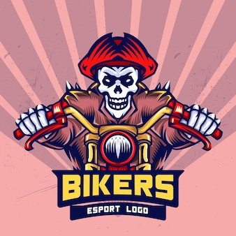 Pirate skull bikers esport logo design