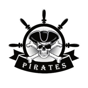 Pirate skull bones with eye patch and ship steering wheel logo design vector illustration