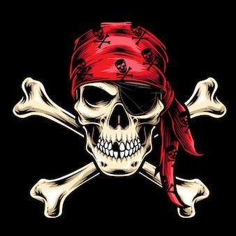 Пиратский череп экипаж вектор