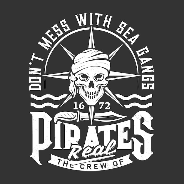 Pirate skull emblem, pirate knife and waves