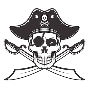 Pirate skull in hat and eyepatch with two crossed sabers illustration