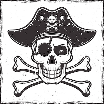 Pirate skull in hat and two crossed bones illustration in monochrome style