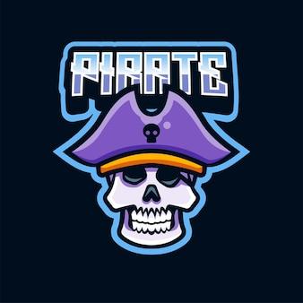 Pirate skull head logo illustration