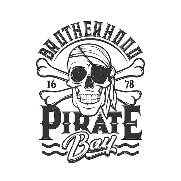 Pirate skull, head of skeleton with eye patch and bandana