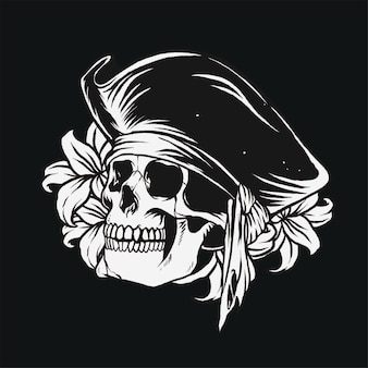 Pirate skull illustration design