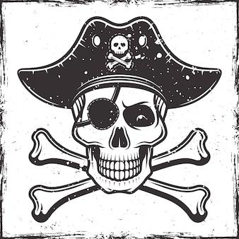 帽子の海賊の頭蓋骨とモノクロスタイルの2つの交差した骨のイラスト