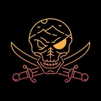 自然の中の海賊の頭蓋骨