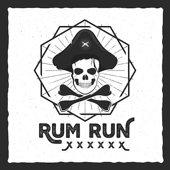 Pirate skull insignia, poster. rum label design with sun bursts, geometric shield and vector text - rum run. vintage style for tee design, t-shirt, web projects, logotype, pub. isolate on white.
