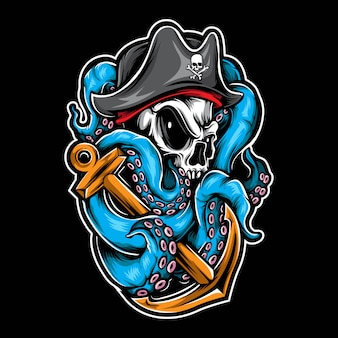 Pirate skull octopus