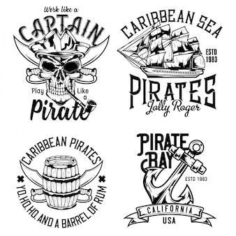 Pirate skull, rum barrel, sailing vessel and anchor